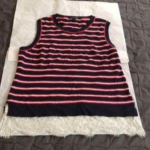 Tommy Hilfiger Muscle Striped Tee with lace detail
